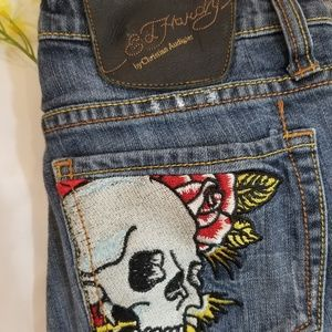 Ed Hardy Skull and Roses Skinny Jeans Size 25
